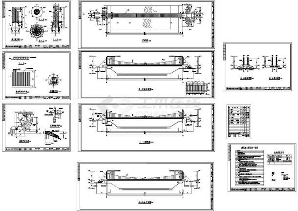 深圳坪地镇铁桥-66m人行悬索桥建筑设计CAD施工图-图一