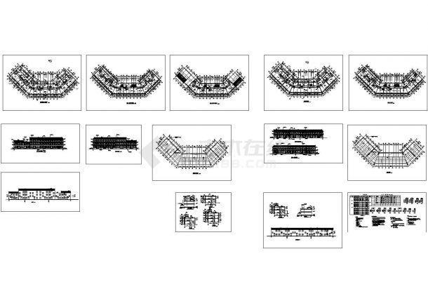 【扬州】某仿古街商铺全套建筑施工设计cad图(含屋顶平面图)-图一