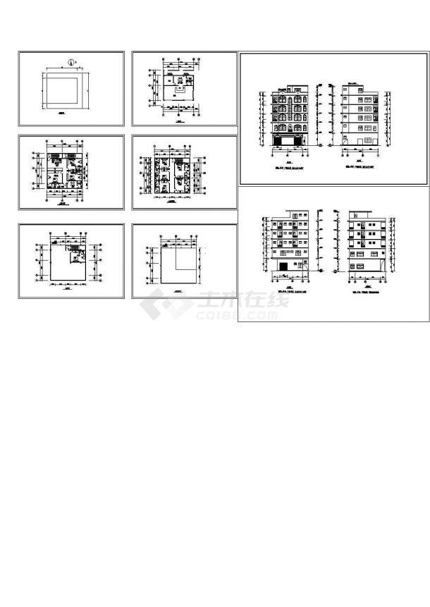 某地农村多层商住楼全套建筑施工设计cad图(含屋顶平面图)-图一