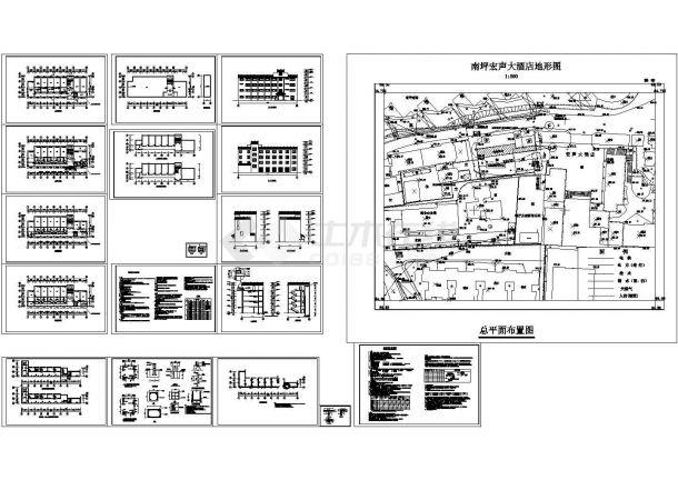 宏声大酒店客房全套建筑结构cad图(含总平面布置图)-图一