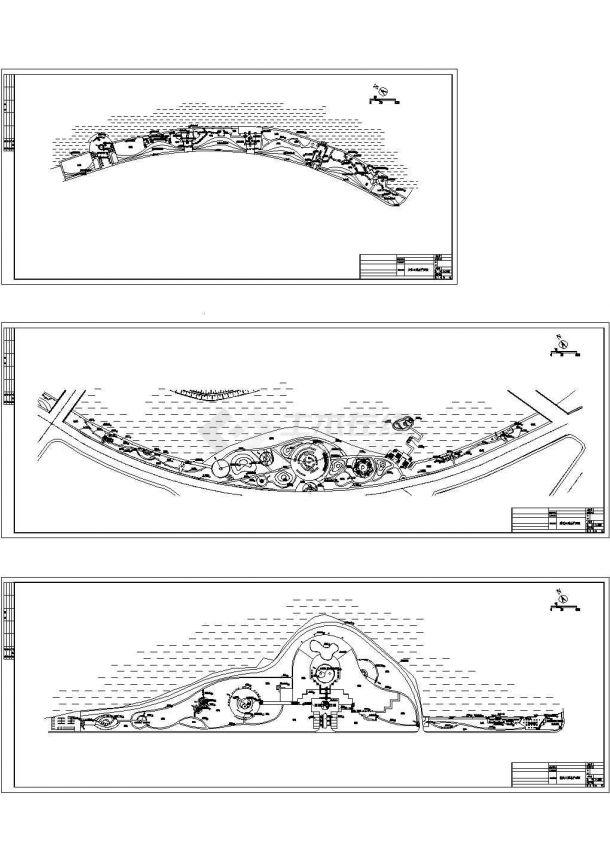 江西某滨湖公园景观设计cad图,共三张-图一