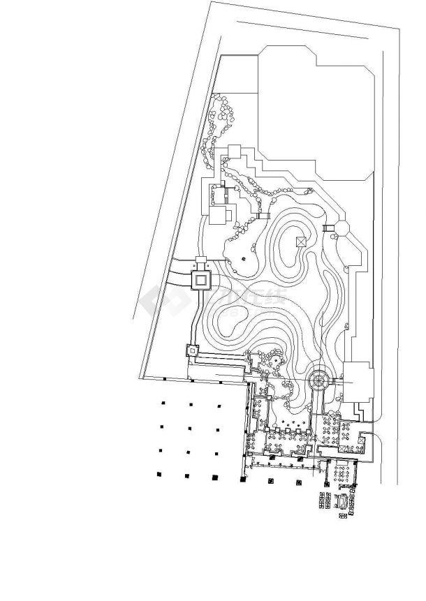 北京某饭店周边环境总图设计-图二