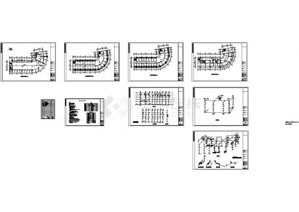 5层J型宿舍楼给排水施工cad图,共九张-图一