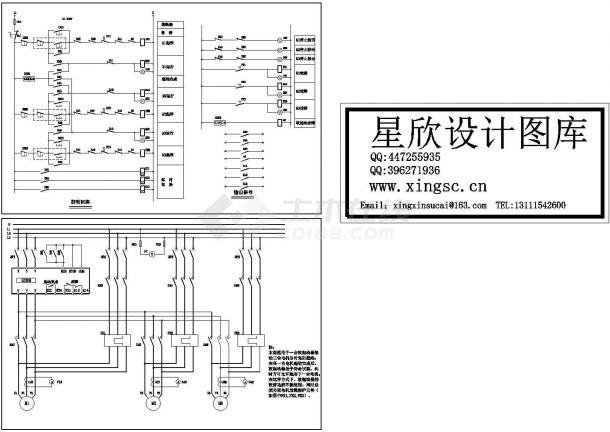 一台软起动器拖动三台电机控制原理CAD图纸-图一