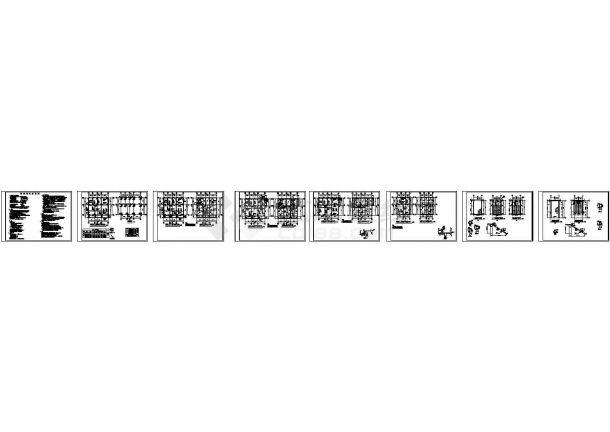 珠海龙安苑3层别墅结构设计施工cad图纸,共八张-图一