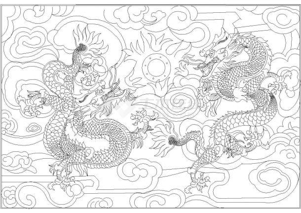 经典园林景观小品--双龙戏珠cad模纹图(甲级院设计)-图一