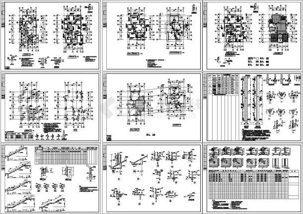 欧式别墅建筑结构施工图cad-图一
