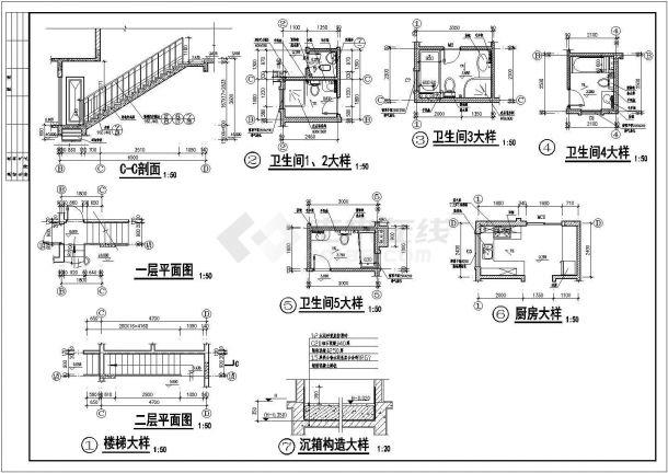 欧式别墅建筑结构施工图cad-图二