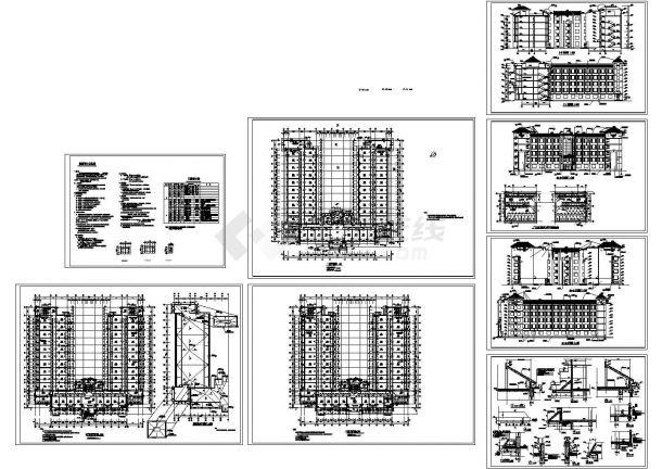 某学校学生公寓楼全套建筑施工图 cad设计图-图一