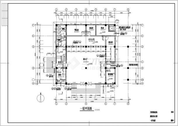 两层局部三层框架结构办公楼结构设计图-图一
