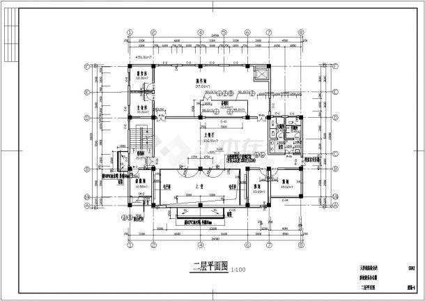 两层局部三层框架结构办公楼结构设计图-图二