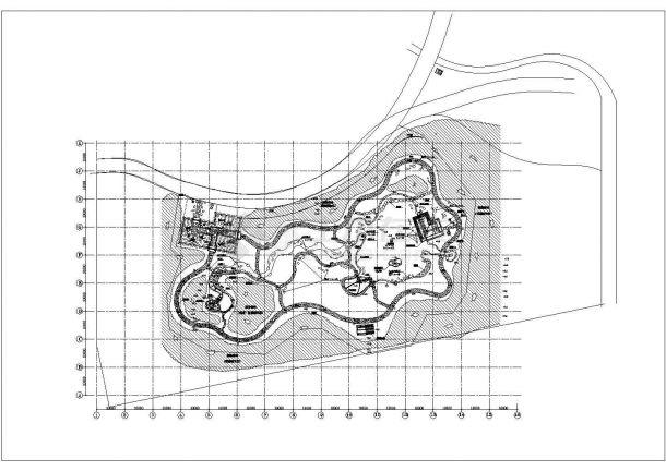 某地日本式风格园林景观设计cad总平面方案图(标注详细)-图一