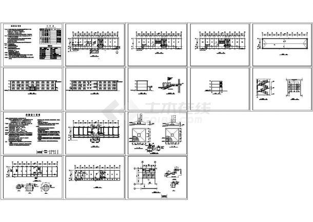 1226平方米某三层公司办公楼建筑施工cad图,共十六张-图一
