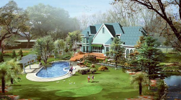 上海西郊庄园别墅景观设计效果图jpg-图一