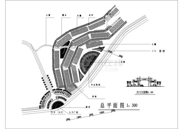 某公园景观设计平面布置及部分节点cad大样图(标注详细)-图一