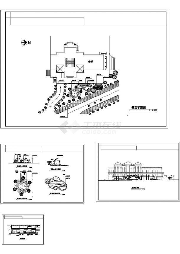 某三角绿地景观设计cad全套施工详图(标注详细)-图二