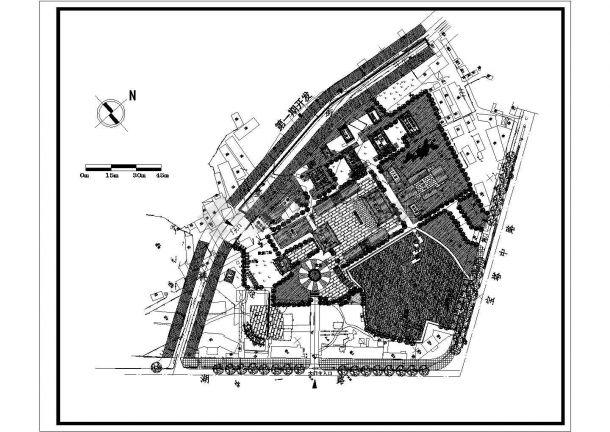 某公园寺庙景观规划设计cad总平面施工图纸(甲级院设计)-图一