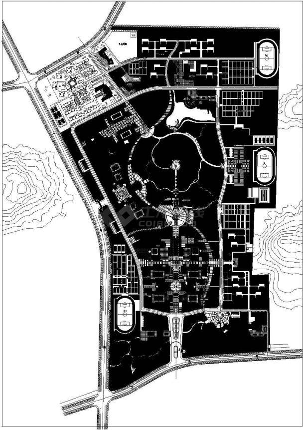 某学院总体规划图纸 cad图纸-图一