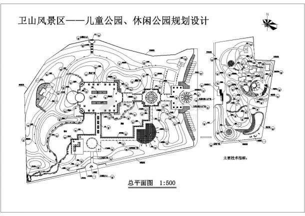 某大型公园(用地面积43710平方米)绿化规划设计cad总平面施工图(含技术经济指标)-图一