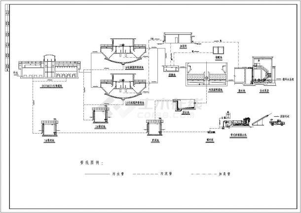 某电厂中水回用流程施工CAD图-图一