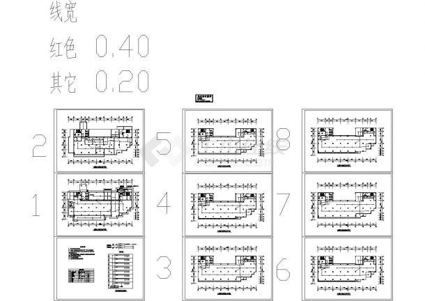 八层商场电气施工cad图(含消防自动报警及联动平面图,共八张)-图二