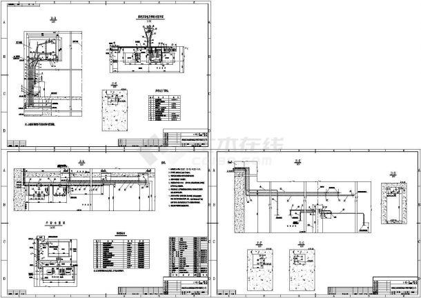 某水电站机组重力油系统设备及管路布置图,3张图纸。-图一