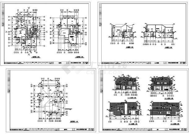 某二层砌体结构森林住宅区别墅设计cad全套建筑施工图纸(甲级院设计)-图二