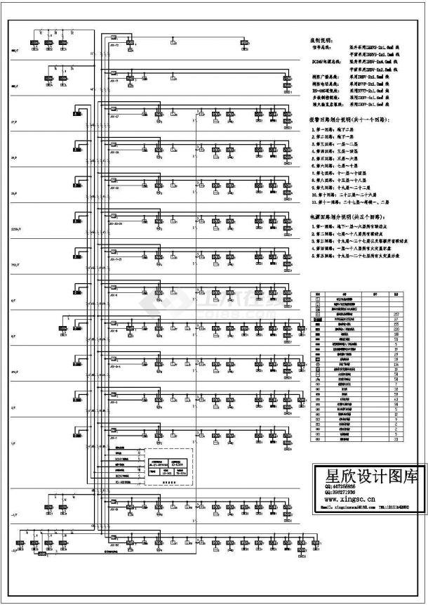 某小高层建筑消防报警系统设计方案完整施工CAD图纸-图一