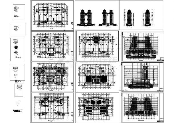 双子塔综合大楼建筑设计施工图-图一