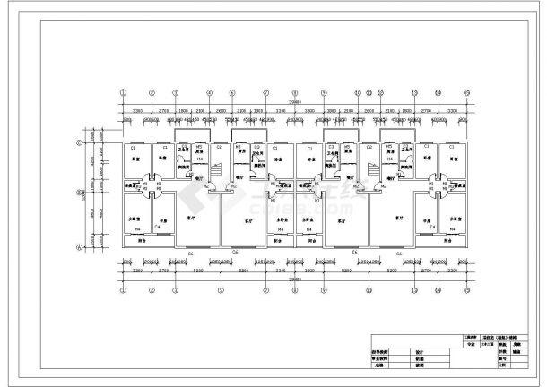 北京市某家属院6800平米6层框架结构住宅楼建筑结构设计CAD图纸-图二