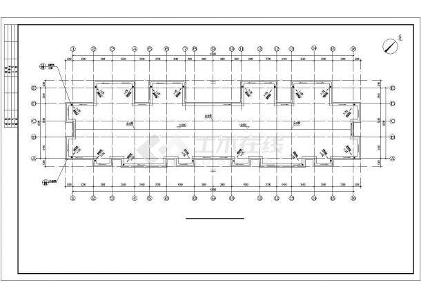 广州市某家属院3850平米6层框架结构住宅楼建筑结构设计CAD图纸-图一