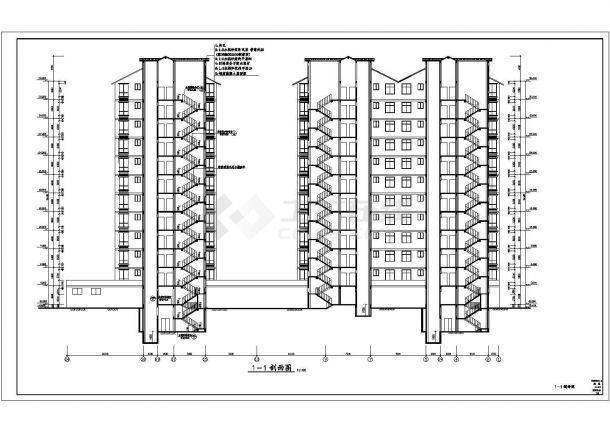 舟山市新秦花园小区1.3万平米12层框架结构住宅楼建筑设计CAD图纸-图一
