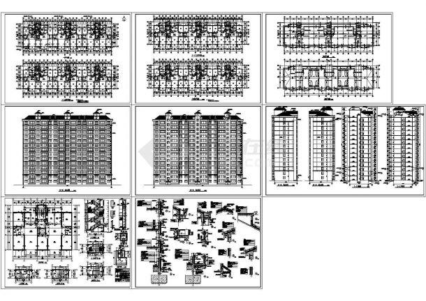 短肢剪力墙小高层住宅建筑结构设计施工cad图纸,共十三张-图一