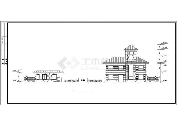 合肥市澜新家园小区三层砖混结构娱乐会所CAD建筑设计图纸(含总图)-图一