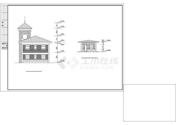 合肥市澜新家园小区三层砖混结构娱乐会所CAD建筑设计图纸(含总图)-图二