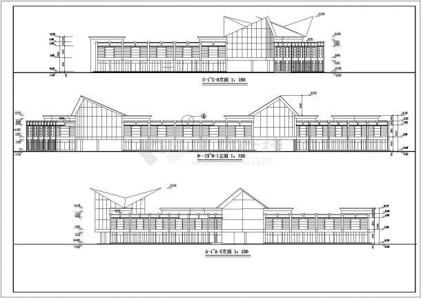 西安市某度假区2层框混结构休闲会所全套CAD建筑设计图纸-图一