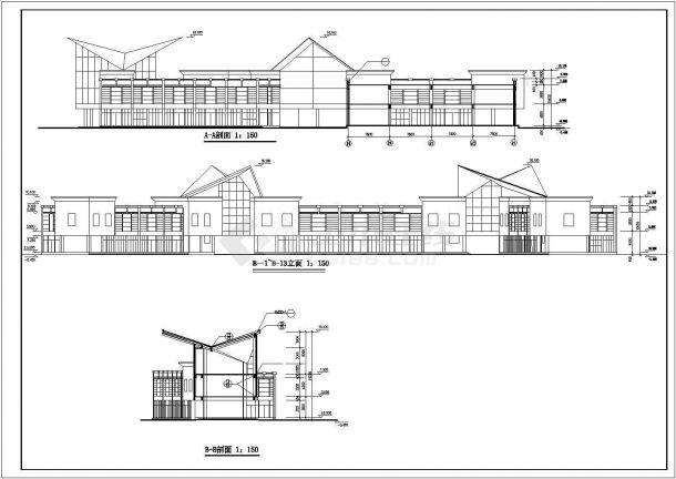 西安市某度假区2层框混结构休闲会所全套CAD建筑设计图纸-图二