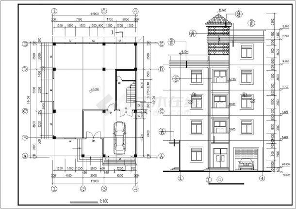 广州某城中村910平米5层砖混结构民居楼CAD建筑结构设计图纸-图二