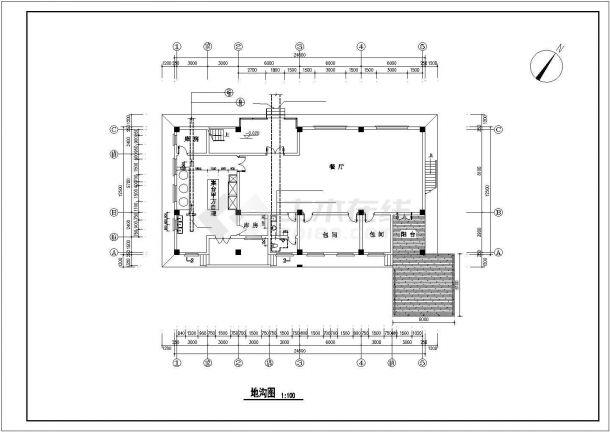 长沙市某度假区2层砖混结构休闲综合楼CAD建筑设计图纸-图一