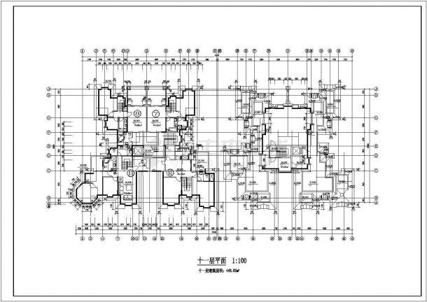 安康市柳园花苑小区11层框架结构住宅楼CAD建筑设计图纸-图一