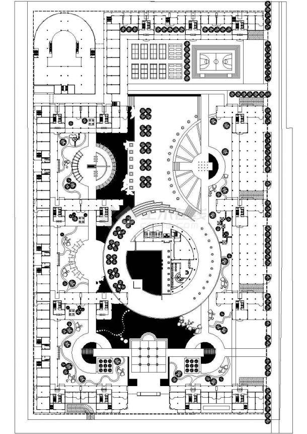 某现代配套齐全带休闲会所、超市的小区cad设计总平面施工图纸(甲级院设计)-图一