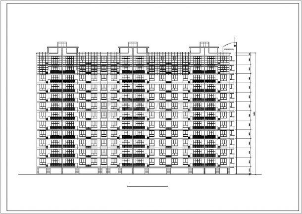 溧阳市某小区12层框架结构住宅楼平立剖面CAD设计图纸(含架空层)-图二