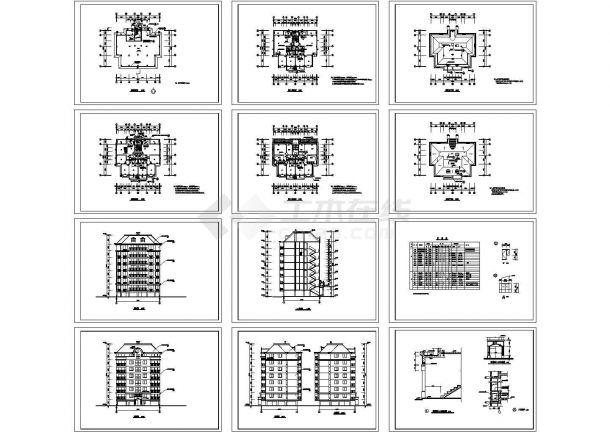某8层复式1梯2户普通住宅楼设计图 cad图纸-图二
