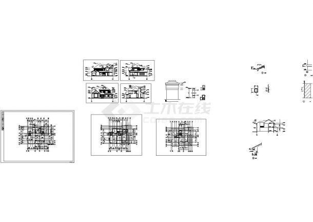 某二层混合结构欧式风格新农村住宅别墅设计cad建筑方案图(标注详细)-图二