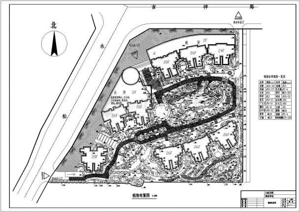 西安某小区园林景观绿化施工图CAD-图一