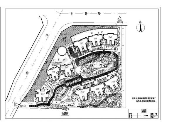 西安某小区园林景观绿化施工图CAD-图二
