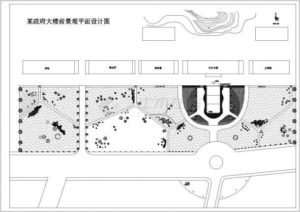 某政府大楼前广场景观绿化规划设计cad 总平面施工图( 含设计说明)-图二