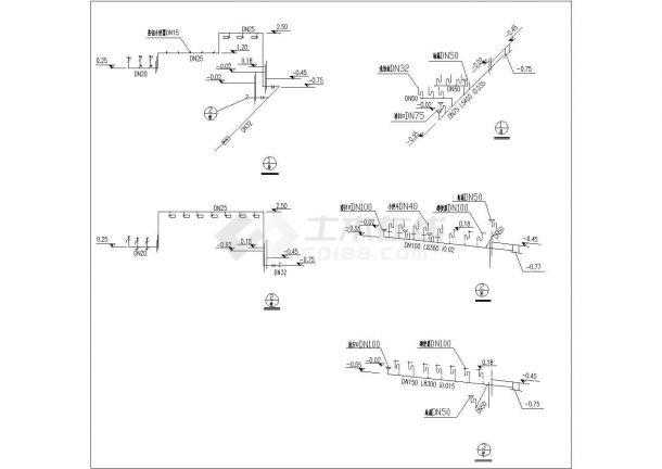 某一层框架结构别墅给排水设计cad全套施工图-图二