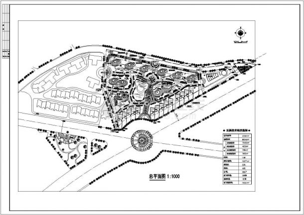 某住宅小区园林景观规划设计cad总平面施工图纸(含技术经济指标)-图一