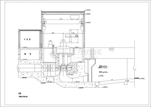某水利发电站厂房cad设计建筑施工图纸(标注详细)-图一
